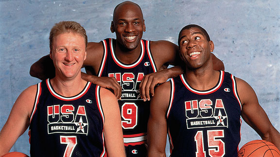 Bird, Jordan y Magic Johnson