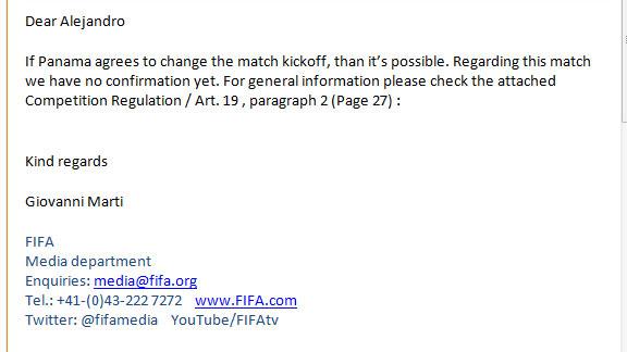 Respuesta de FIFA